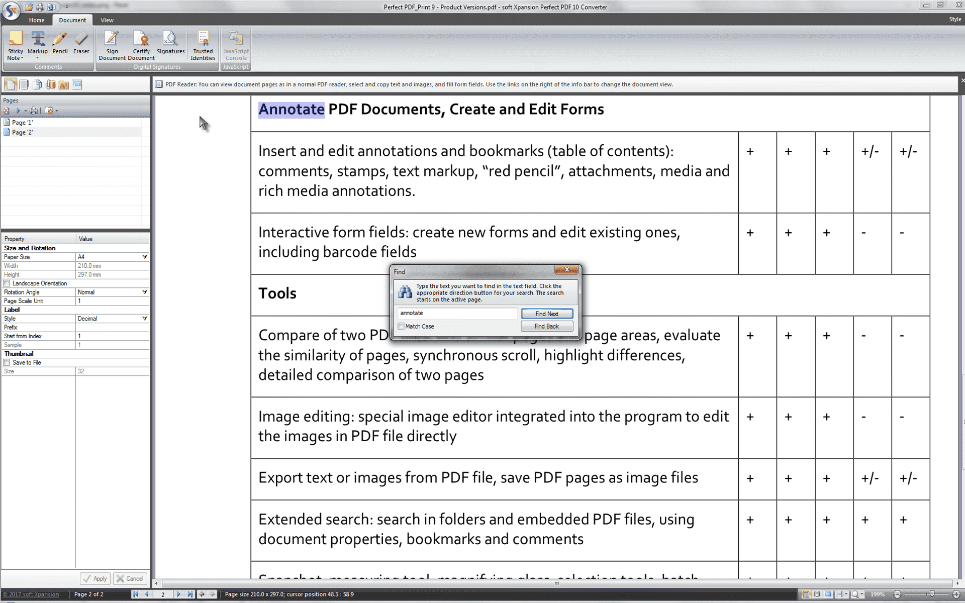 Advanced search function of the PDF Creator